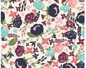 Floral Cotton Fabric - Coral Pink, Aqua, Cream, Navy Blue Modern Flower Posy Garden Main Cream - Riley Blake Designs - Carina Gardner