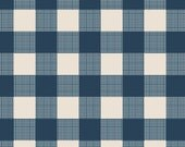 Cotton Fabric Gingham Navy Blue Cream by Art Gallery Fabrics - AGF Blue Cream Buffalo Check Quilting Fabric - Navy Blue Buffalo Plaid Fabric