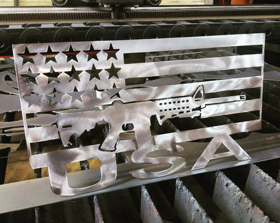Ar 15 Flag Metal Art With Usa On Bottom