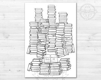 Personalized Wedding Guest Book Alternative Poster - Books - Up to 150 names