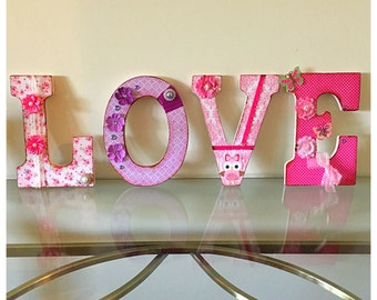 Distressed LOVE nursery letters, decorative letters, word Love, monogram, little girls room