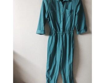 90's Vintage made in usa large teal jumpsuit or romper