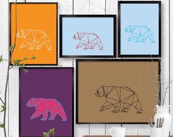 Large Geometric Bear Print, Wall Art, Animal, Room Decor, Woodland, Wildlife, Minimalist, Triangle, Poster, Child, Baby Nursery A3 A2