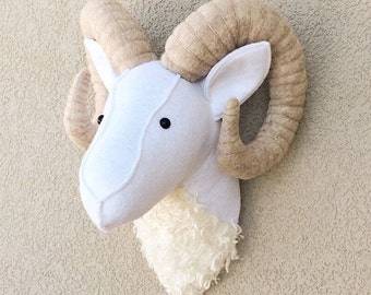 Big Horn Ram / Felt animal head / wall decor / baby room /  nursery decor / stuffed animals