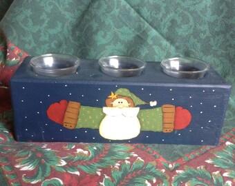Santa Sugar Mold Hand Painted 3 candle