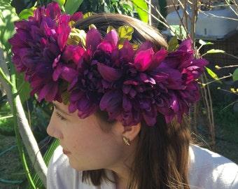 Black Dahlia flower crown