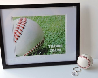 Baseball Coaches gift - end of season team gift, Thanks Coach, framed photo for signing
