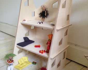 Sustainable Wooden Dollhouse // Modular Modern style Dollhouse // Ready for DIY decoration and personalization