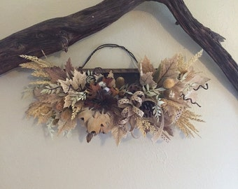 ON SALE****Weathered Wood and Silk Floral Wall Arrangement