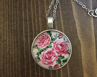 Pink Roses Floral Necklace Antique Silver