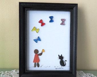"Original Pebble Art Picture GIRL CAT BUTTERFLIES 5"" X 7"" Glass Pebbles Oak Frame"