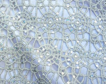 Lurex Lace Sequins Fabric, Chemical Lace Silver Table Overlay Fabric, Table  Runner Fabric By