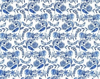 SALE - Floral White - Moody Blues - Cloud9 Fabrics - Organic Cotton - Voile by the Yard