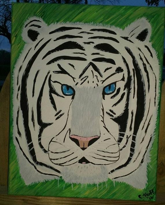 Beautiful White Bengal Snow Tiger Original Acrylic Painting