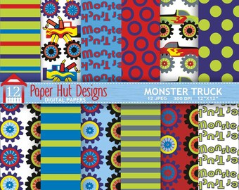 Monster Truck Digital Papers for Personal or Commercial Use. Perfect for Backgrounds, Invitations, Card Design and Scrapbooking