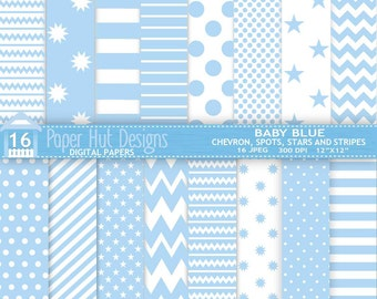 Baby Blue Digital Papers- Baby Shower Chevron Spots Stars Stripes for Personal or Commercial Use. Card design, Invitations and Scrapbooking