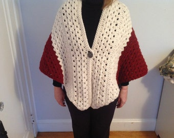 Chunky wool crochet off white, burgundy and charcoal wrap with large button closure
