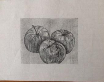 "Original Pencil Study THREE APPLES Pencil Drawing,Housewarming Gift, Halloween, Wall Art, Kichen Art,Fruit,Drawing 5.5""x4.5"""
