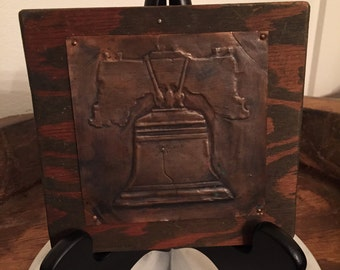 Vintage Copper Tooled Historic Folk Art Plaque of The Liberty Bell