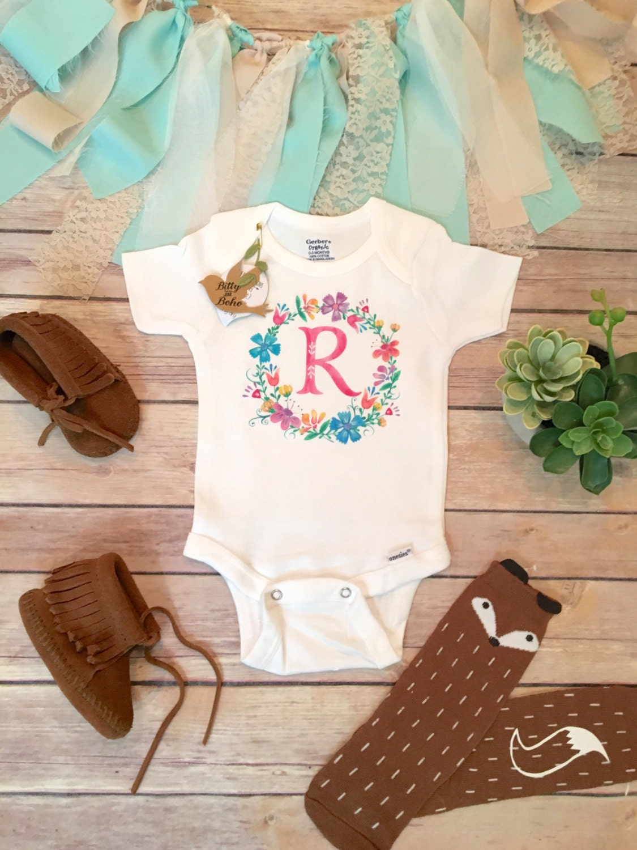 Baby Gift Monogram : Initial onesie? baby shower gift girl clothes monogram