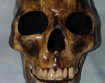 Realistic wood grain Skull