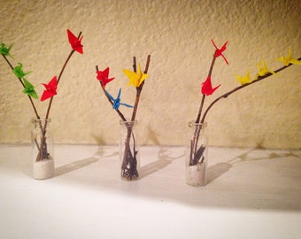 Micro Origami Cranes on Mini Tree Branches (set of 3)