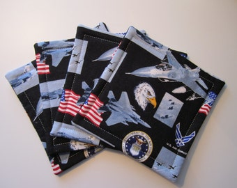 United States Air Force Fabric Coaster Set, Air Force, USAF, Military, Coasters, Fabric Coasters, Fabric Coaster Set, Retirement Gift