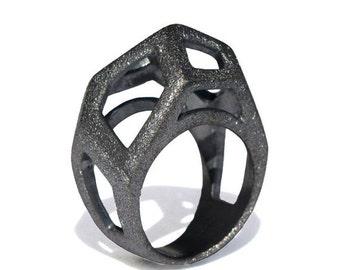 SALE 20% Off - GEM Ring, Geometric Diamond Ring, Black Ring, Geometric Ring, Modern Ring, Minimalist Ring, Unique Sterling Silver Ring