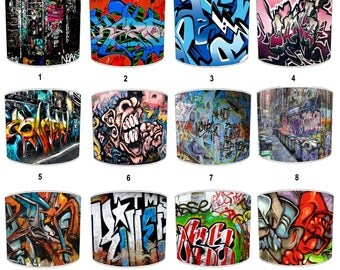 Graffiti Street Art Print Lamp shades, To Fit Either a Table Lamp base or a Ceiling Light Fitting.
