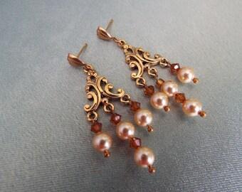 Chandelier Swarovski Crystal and Pearl Earrings