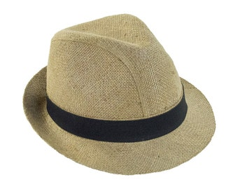 """Upcycling Trilby hat """"Café Corretto"""" motif: plain (blanco) from coffee sack"""