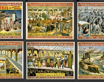 Barnum and Bailey Greatest Show Vintage Circus Posters Set of 6 Prints