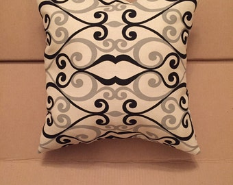 Black and Gray Swirl Pillow