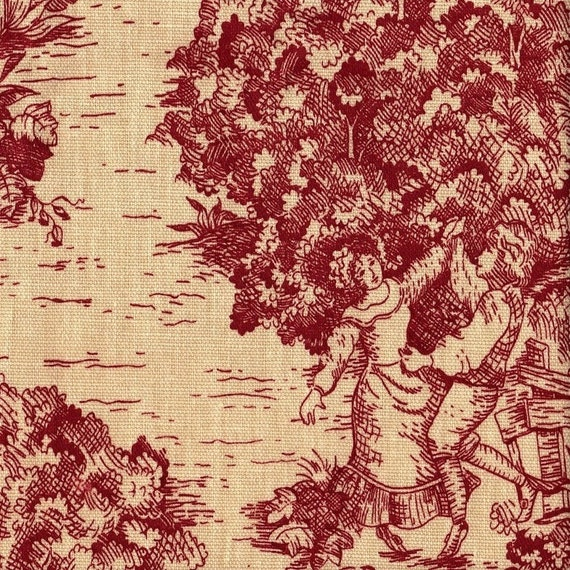 72 Shower Curtain Crimson Red Toile Lined