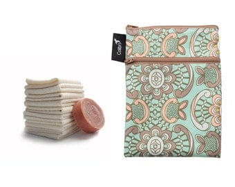 Ready to ship - Mini wet dry bag with two zippers, PUL liner (mint and coral) and 5 organic cotton washcloths