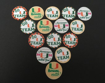 University of Miami hurricanes Buttons set a 15