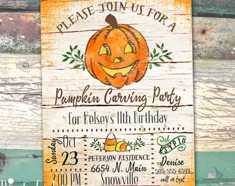 Pumpkin Carving Birthday Party Invitation Printable Invitation Print at Home
