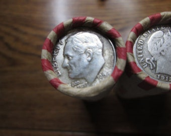 Unsearched Wheat Pennies With a Silver Dime on the End--Free Shipping!