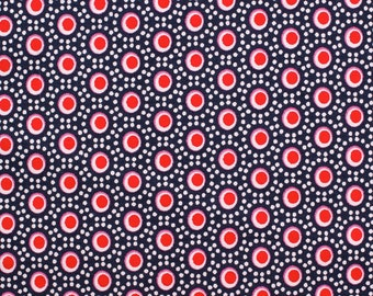 Retro points (Navy) - cotton fabric with points - 0, 5m