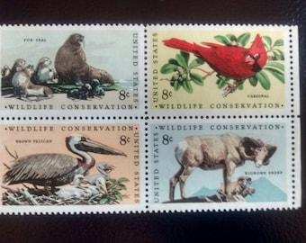 Vintage Block of U.S. Wildlife Conservation Stamps (MNH)