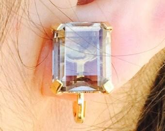 Vintage Winard Clip On Earrings 12KT Gold Filled/Large Stone Earrings/Winard Jewelry/12KT Filled