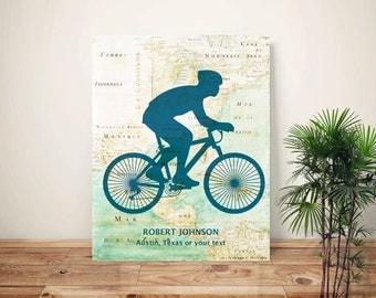 Bike art, Bicyclist Gifts, PERSONALIZED Cyclist gift, bike print, bike map art, biking lovers, bicycle wall art, mountain bike print