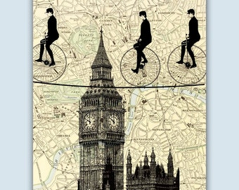 London Art Print, London Decor, London Poster, Cycling Tightropers Crossing Big Ben, London Map, Cycling Gifts, Big Ben Poster, Map Art