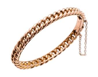 Antique Rose Gold Curb Link Bangle