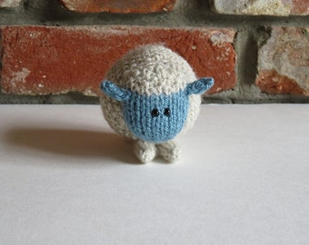 Soft Blue Hand Knitted Sheep