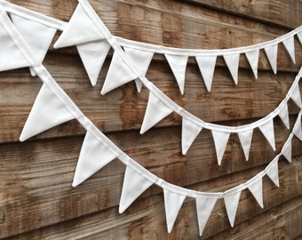 White Wedding Bunting, Mini Bunting, Wedding Bunting, White Garland, Outdoor Wedding, 3.7m