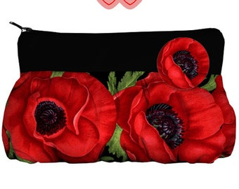 Cosmetic bag with poppies, bag for girls, bag with flowers, poppies on bag, Gift Idea, flowers poppies, poppies, Poppies on the purse