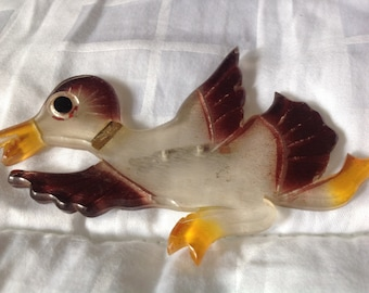 Vintage lucite painted duck pin