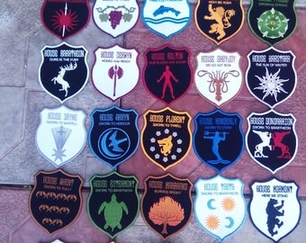 Coats of arms of the great houses of Westeros, embroidered patch 80 * 100 mm, any coat 1 pcs., The price is for 1pc.