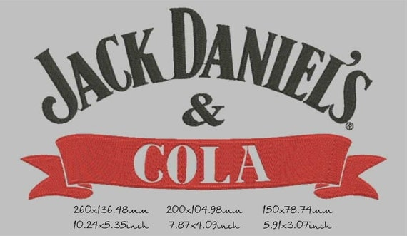 Jack daniels cola machine embroidery design instant